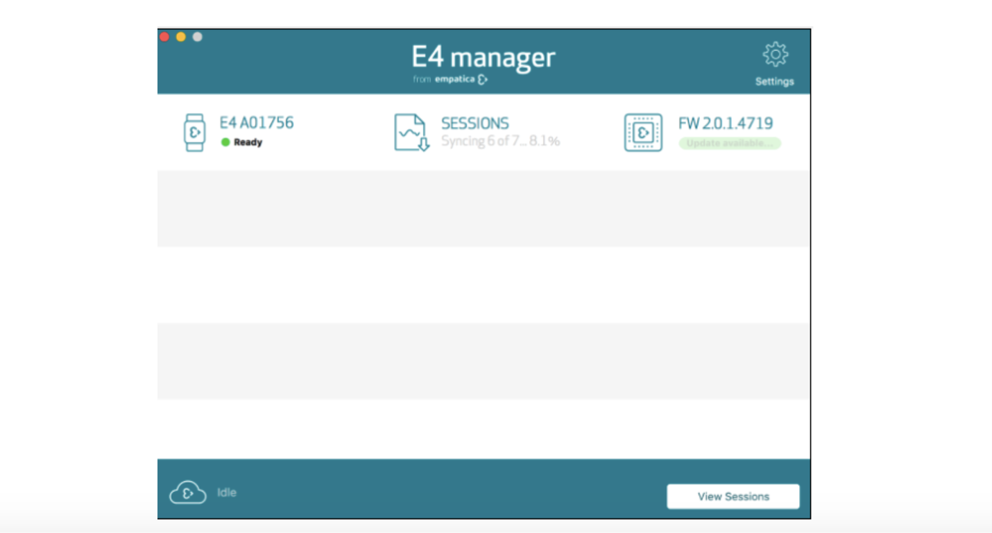 E4 manager syncing sessions